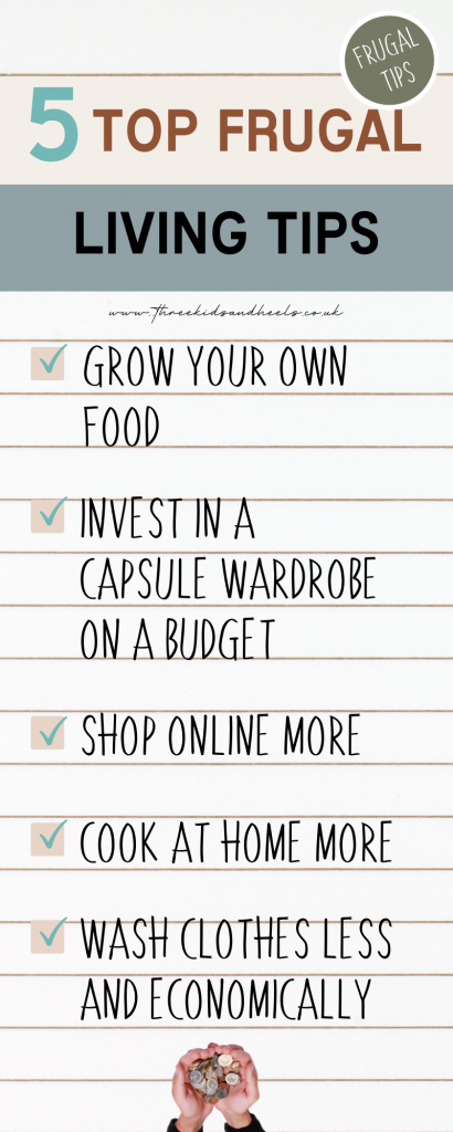 Infographic listing my tried and tested top 5 best frugal living tips.